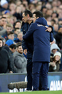 Chelsea Manager Maurizio Sarri and Everton Manager Marco Silva embrace during the Premier League match between Everton and Chelsea at Goodison Park, Liverpool, England on 17 March 2019.