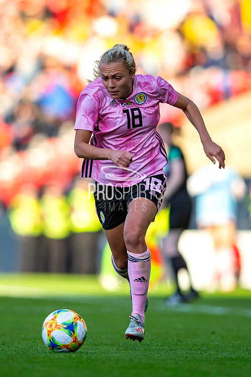 Claire Emslie (#18) of Scotland on the ball during the International Friendly match between Scotland Women and Jamaica Women at Hampden Park, Glasgow, United Kingdom on 28 May 2019.