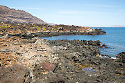 Rocky shoreline on cast at Orzola, Lanzarote, Canary Islands, Spain