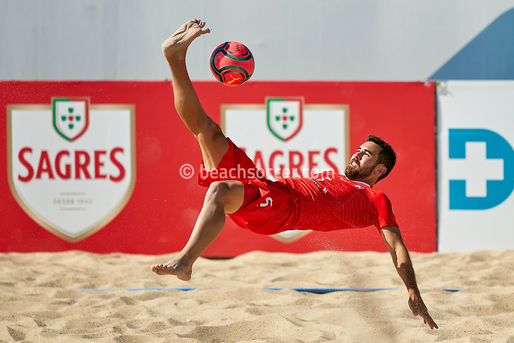 NAZARE, PORTUGAL - SEPTEMBER 5: Jan Ostgen of Switzerland during day 4 of the Euro Beach Soccer League Superfinal at Estadio do Viveiro on September 5, 2020 in Nazare, Portugal. (Photo by Jose Manuel Alvarez/BSWW)
