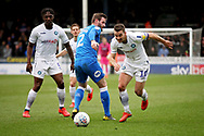 Peterborough Utd defender Jason Naismith (2) is beaten by Wycombe midfielder Matthew Bloomfield (10)  during the EFL Sky Bet League 1 match between Peterborough United and Wycombe Wanderers at London Road, Peterborough, England on 2 March 2019.