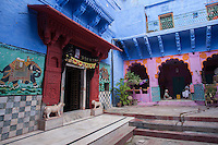 """Neighborhood Hindu shrine in """"the blue city""""  of Jodhpur which was formerly the capital of the kingdom of Marwar.   Jodhpur is called  the """"Blue City"""" because of the many blue  houses around the Mehrangarh Fort, especially in the community of Brampuri - Brahmin village."""