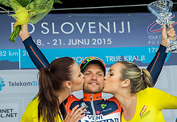 Winner DE NEGRI Pier Paolo (Italy) of Nippo - Vini Fantini celebrates during flower ceremony after the Stage 2 of 22nd Tour of Slovenia 2015 from Skofja Loka to Kocevje (183 km) cycling race  on June 19, 2015 in Slovenia. Photo by Vid Ponikvar / Sportida