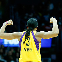 LOS ANGELES, CA - JUN 30: Candace Parker (3) of the Los Angeles Sparks celebrates during a game on June 30, 2019 at the Staples Center, in Los Angeles, California.