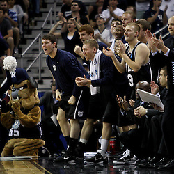 Mar 26, 2011; New Orleans, LA; The Butler Bulldogs bench reacts following a score during a win over the Florida Gators in the semifinals of the southeast regional of the 2011 NCAA men's basketball tournament at New Orleans Arena. Butler defeated Florida 74-71.  Mandatory Credit: Derick E. Hingle