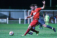 Jordan Snodin of Selby Town (8) passes the ball forward during the The FA Cup Preliminary Round match between Selby Town and Kendal Town at the Fairfax Plant Hire Stadium, Selby, United Kingdom on 4 September 2018.
