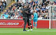 Romelu Lukaku of Everton is embraced by a pitch invader in the first half.<br /> Premier league match, Swansea city v Everton at the Liberty Stadium in Swansea, South Wales on Saturday 6th May 2017.<br /> pic by  Phil Rees, Andrew Orchard sports photography.