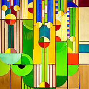 The grounds of the historic Arizona Biltmore Resort and Spa are heavily influenced by American architect Frank Lloyd Wright. This Wright-inspired stained glass is displayed in the entry way of the Biltmore lobby.