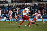 Luke O'Nien of Wycombe Wanderers shoots to score his sides 1st goal to make it 1-0. Skybet football league two match, Wycombe Wanderers  v Stevenage Town at Adams Park  in High Wycombe, Buckinghamshire on Saturday 12th March 2016.<br /> pic by John Patrick Fletcher, Andrew Orchard sports photography.