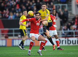 Marlon Pack of Bristol City and Stewart Downing of Middlesbrough fight for the ball. Mandatory byline: Alex Davidson/JMP - 16/01/2016 - FOOTBALL - Ashton Gate - Bristol, England - Bristol City v Middlesbrough - Sky Bet Championship