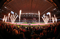 Pyrotechnics as the players run out before the Guinness Six Nations match at the Principality Stadium, Cardiff.
