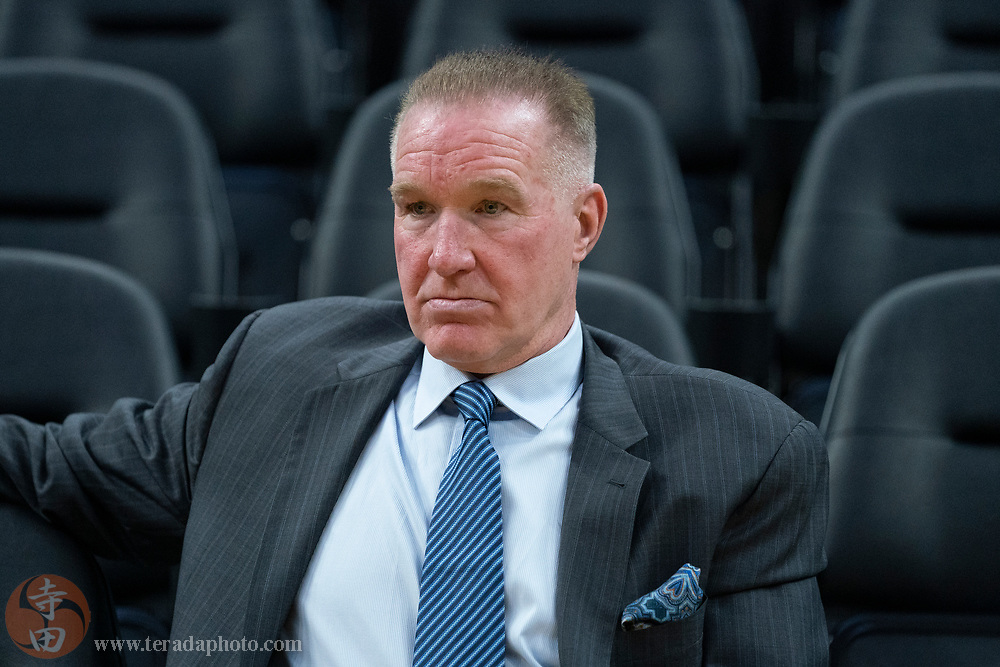 February 23, 2020; San Francisco, California, USA; Golden State Warriors great Chris Mullin before the game against the New Orleans Pelicans at Chase Center.