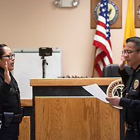 Melanie Padilla-Begay, left, is sworn in as lieutenant for the Gallup Police Department by Chief Franklin Boyd Friday morning in municipal court in Gallup.
