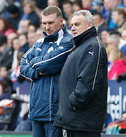 Photo: Steve Bond/Richard Lane Photography. Leicester City v Cardiff City. Coca Cola Championship. 13/03/2010. Dave Jones (R) and Nigel Pearson (L) cat during a break  in play