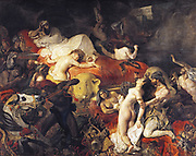 Death of Sardanapolis by Eugene Delacroix, (1798-1863) French Artist. The painting is based on the tale of Sardanapalus, last king of Assyria, from the library of Diodorus Siculus, an Ancient Greek historian
