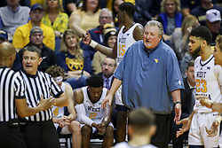 Nov 24, 2018; Morgantown, WV, USA; West Virginia Mountaineers head coach Bob Huggins reacts during the second half against the Valparaiso Crusaders at WVU Coliseum. Mandatory Credit: Ben Queen-USA TODAY Sports