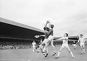 Cork's full forward, M. Doherty goes up for the ball watched by Sligo full back during the All Ireland Minor Gaelic Football Final Sligo v. Cork in Croke Park on the 22nd September 1968. Cork 3-5, Sligo 1-10.