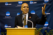 President of Grinnell College, Raynard S. Kington, gives the opening introduction at the NCAA Division III Indoor Track and Field Championships at Grinnell College on Thursday evening in Darby Gymnasium..