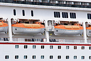 Totally enclosed lifeboats TELB on Cruise Ship <br /> <br /> Editions:- Open Edition Print / Stock Image