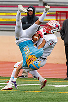 Center High School Cougars Cam Denham (5), intercepts the ball intended for Ripon Indians Brandon Rainer (2), during the second quarter as the Center High School Cougars host the Ripon Indians in the Sac-Joaquin Section Division V final Football game at Hughes Stadium in Sacramento, CA., Saturday, November 30, 2019.