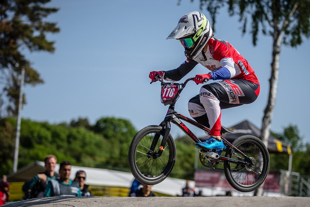 #110 (SMULDERS Laura) NED during practice at Round 5 of the 2018 UCI BMX Superscross World Cup in Zolder, Belgium
