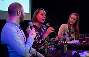 "Abigail Becker speaks during the live taping of the ""Madsplainers"" Podcast at High Noon Saloon in Madison, WI on Tuesday, April 9, 2019."