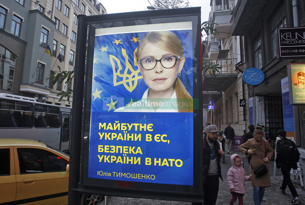 October 2, 2018 - Kiev, Ukraine - A banner with a portrait of Ukrainian politician YULIA TYMOSHENKO and with slogan reading like 'The future of Ukraine in the EU, the security of Ukraine in NATO' is seen on a downtown in Kiev, Ukraine, on 02 October 2018. Yulia Tymoshenko will take part as candidate in the next presidential elections which to be on March 2019 in Ukraine. (Credit Image: © Serg Glovny/ZUMA Wire)