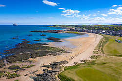 Aerial view of North Berwick beach and North Berwick Golf Club, East Lothian, Scotland, UK