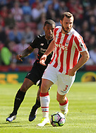 Stoke city's Erik Pieters  in action. Premier league match, Stoke City v Liverpool at the Bet365 Stadium in Stoke on Trent, Staffs on Saturday 8th April 2017.<br /> pic by Bradley Collyer, Andrew Orchard sports photography.
