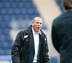 Gus MacPherson, manager of Queen of the South complains to the linesman..Falkirk 1 v 0 Queen of the South, 15/10/2011..Pic © Michael Schofield.