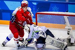16-02-2018 KOR: Olympic Games day 7, PyeongChang<br /> Ice Hockey Russia (OAR) - Slovenia / defenseman Blaz Gregorc #15 of Slovenia, forward Nikolai Prokhorkin #74 of Olympic Athlete from Russia, goaltender Luka Gracnar #40 of Slovenia