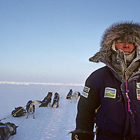 WILL STEGER in -40 degree temperatures off coast of Severnaya Zemlya (Russia), en route to Canada via the frozen Arctic Ocean & North Pole, International Arctic Project dogsled expedition.