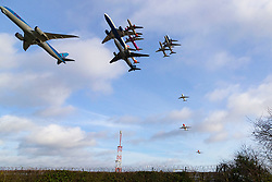A composite frame shows an hour worth of take-offs from Gatwick airport as schedules get back to normal following closures due to drones seen over the airport, disrupting the holiday plan of thousands. Gatwick, September 07 2018.