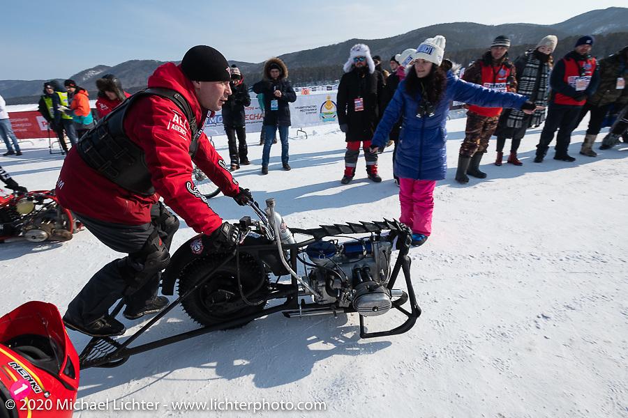 Unimotocycle racer at the Baikal Mile Ice Speed Festival. Maksimiha, Siberia, Russia. Saturday, February 29, 2020. Photography ©2020 Michael Lichter.