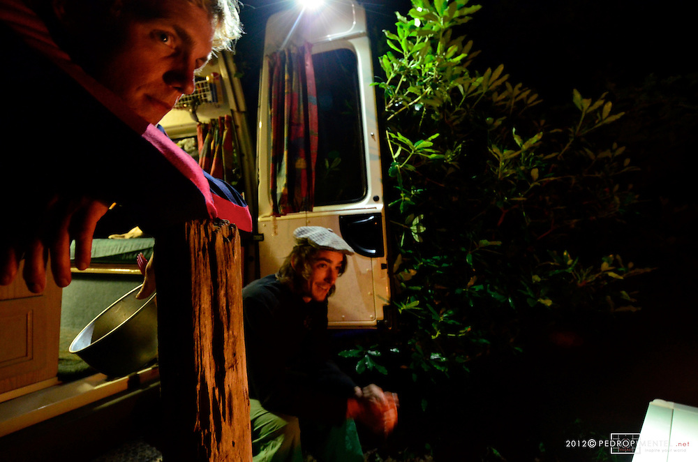 Campsite night planning. Night before the move to Harwoods Hole Forest.  New Zealand.