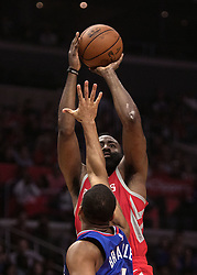 October 21, 2018 - Los Angeles, California, U.S - James Harden #13 of the Houston Rockets takes a shot during their NBA game with the Los Angeles Clippers 18 at the Staples Center in Los Angeles, California. (Credit Image: © Prensa Internacional via ZUMA Wire)