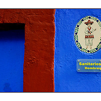 Sanitarios Hombres Man Men toilet sign;<br />