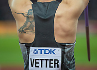 Athletics - 2017 IAAF London World Athletics Championships - Day Nine, Evening Session<br /> <br /> Mens Javelin Final<br /> <br /> The tattoo on the shoulder of Johannes Vetter (Germany) deoicting a greek thrower at the London Stadium<br /> <br /> COLORSPORT/DANIEL BEARHAM