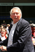 Brooks Robinson at the Major League Baseball All-Stars and 49 Hall of Famers ride up Sixth Avenue in All Star-Game Red Carpet Parade Presented by Chevy on July 15, 2008
