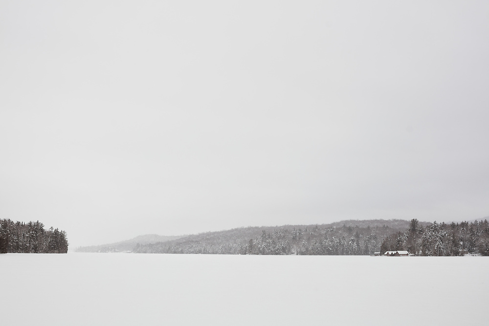 Snowy winter landscape at Whiteface Landing on Lake Placid in the Adirondack Park