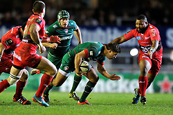 Ben Youngs of Leicester Tigers in possession - Photo mandatory by-line: Patrick Khachfe/JMP - Mobile: 07966 386802 07/12/2014 - SPORT - RUGBY UNION - Leicester - Welford Road - Leicester Tigers v Toulon - European Rugby Champions Cup