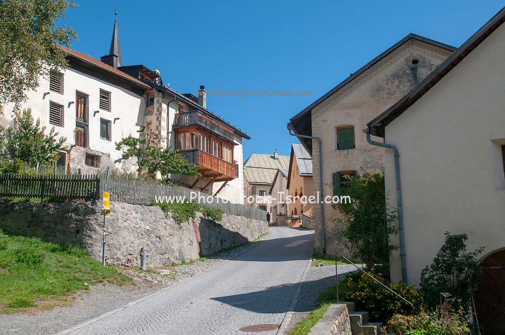 Engadine Valley village of Guarda, Switzerland