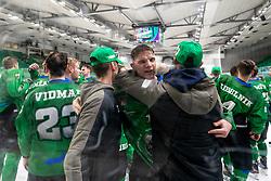Mark Sever of HK SZ Olimpija celebrates after 3rd leg of ic hockey game between HK SZ Olimpija Ljubljana and Asiago Hockey in Final of Alps Hockey League 2020/21, on April 24, 2021 in Hala Tivoli, Ljubljana, Slovenia. Photo by Matic Klansek Velej / Sportida
