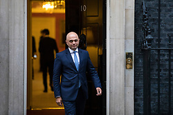 © Licensed to London News Pictures. 08/01/2018. London, UK. FSecretary of State for Communities and Local Government Sajid Javid leaves 10 Downing Street as Prime Minister Theresa May reshuffles the Cabinet. Photo credit: Rob Pinney/LNP