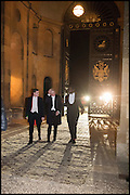 VERE HARMSWORTH; GEORGE PEARSON; ALLAMIN DAGGASH, Oxford University Polo club Ball, Blenheim Palace. Woodstock. 6 March 2015
