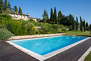 Swimming pool at opulent villa in Tuscany, Italy