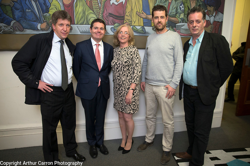 6/10/15 Minister Paschal Donohoe with Greg Grouse (left), Fesh, Susan Richardson, Spade Enterprise Centre, Brendan O'Mahony, Lilliput Stores and Kieran Finnerty, Dice Bar at the launch first ever Smithfield and Stoneybatter Food Festival  Picture:Arthur Carron