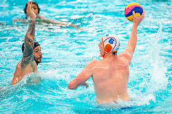 Robin Lindhout of the Netherlands in action against /f of France during the Olympic qualifying tournament. The Dutch water polo players are on the hunt for a starting ticket for the Olympic Games on February 17, 2021 in Rotterdam