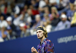 NEW YORK, Sept. 7, 2017  Andrey Rublev of Russia reacts during the men's singles quarterfinal match against Rafael Nadal of Spain at the 2017 U.S. Open in New York, the United States, Sept. 6, 2017. Andrey Rublev lost 0-3. (Credit Image: © Qin Lang/Xinhua via ZUMA Wire)