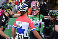 Katarzyna Niewiadoma (POL) (green) riding for WM3 Pro Cycling wins the overall winner title and is congratulated by her team mates after the OVO Energy Women's Tour, London Stage, at Regent Street, London, United Kingdom on 11 June 2017. Photo by Martin Cole.